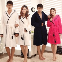 Luxury autumn and winter 100% cotton with a hood lovers flannel bathrobe coral fleece robe sleepwear lounge