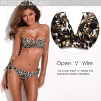 Bikini of the Year RELLECIGA NEW Metallic Leopard Pattern Full-Lined Bandeau Bikini Set with Front V