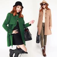 2012 long design fashion slim wool trench coat woolen outerwear woolen overcoat female