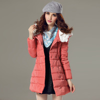 Female winter thickening medium-long down cotton-padded jacket fur collar wadded jacket cotton-padded jacket double breasted
