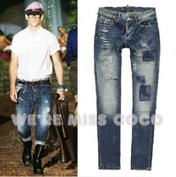 Cool! 2013 New Streety Style Vintage Heavily Processed Patchwork Ripped Holes Denim Jeans for Men Male