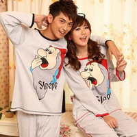 Spring and autumn hot-selling 100% long-sleeve cotton cartoon christmas cartoon lovers sleep set lounge