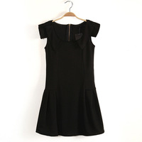 Free shipping 2013 new fashion women's summer sleeveless peter pan collar solid Bud  dress slim cute wholesale Des053