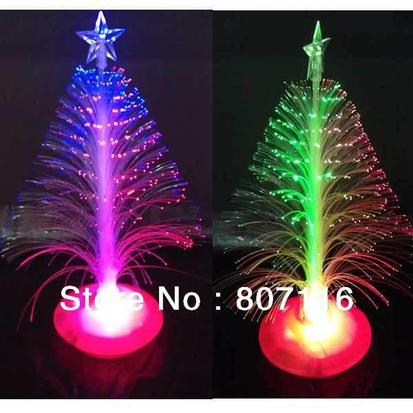 28cm Christmas tree fiber optic light colorful light emitting the flowers three-dimensional christmas tree decoration gift 2008(China (Mainland))