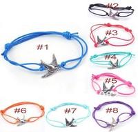 Free Shipping Wholesale 50 pcs/Lot Cuff Cotton Hemp Adjustable Handmade Braided Bracelets Metal Cute Dove Bird Peace Pendant