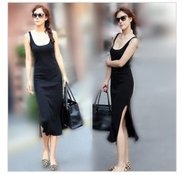 Fashion plus size clothing sexy placketing full dress spaghetti strap tank dress slim hip modal one-piece dress13111202