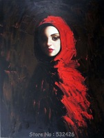 Young Woman Striking Beauty Portrait Red Hood Cape Handpainted Oil Painting on Canvas Wall Art Home Decoration Free Shipping