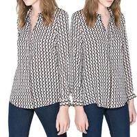 2013 New Fashion Autumn Long Sleeve Lapel Womens Shirt Geometric Pattern Top Blouse 53563