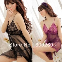Sexy Lingerie Chiffon Lace Mini Dress Underwear Transparent Babydoll Sleepwear+G-String free shipping 5432