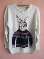 2013 autumn and winter women new arrival jacquard rabbit pullover sweater ultralarge buck sweater outerwear