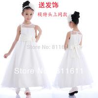 Retail 1Pcs 2013 children dress girls Princess dress chiffon Give Head Hoop Big flower dresse for summer free shipping