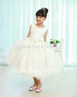Retail 1Pcs (2 Colour White Beige) 2015 New children dress girls Pearl Collar Big Bow Party Ball Wedding Dress Princess Dress