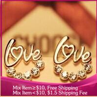 B190 new 2014 Fashion jewelry LOVE Imitation diamond heart gold earrings women