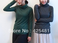 bottoming T shirt high collar Long sleeve thick warm winter bottom shirt solid colors