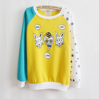 2013 New Japanese Korean Design Cartoon Rabbit Larry Colors Thick Fleece Sweater O-neck Sweaters Women Casual Hoodies