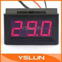 DC 12V Plug In Thermometer with Temp Probe -50~110 Celsius Degrees Temperature Detector Red LED Display Two Wires #100126