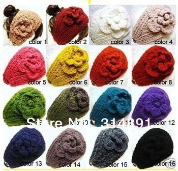 Free shipping 16 COLORS Women lady Knit Crysta Headband Lady Crochet winter Ear Warmer Headwrap hairband Factory price