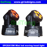 Free Shipping HOT SALE 4X LOT 5in1 5pcs*15W RGBAW Mini LED Moving Head Wash Light,Stage Moving Head for Disco Party