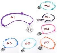 Free Shipping Fashion Wholesale 50 pcs/Lot Cuff Cotton Hemp Adjustable Handmade Braided Bracelet Retro Silver Rudder Gift