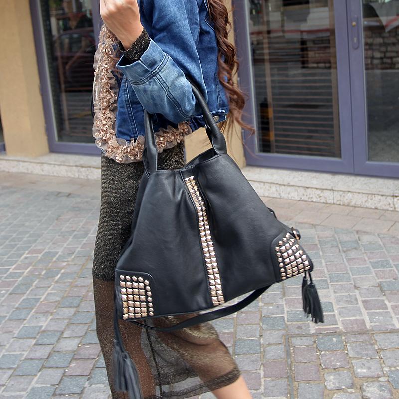 Детали и Аксессуары для сумок Novelty personalized fashion rivet women's handbag vintage tassel one shoulder cross-body bags