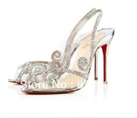 Jeweled Wedding shoe Au Hameau strass pvc sandals transparent black silver gold high heels Peep toe red bottom 100mm