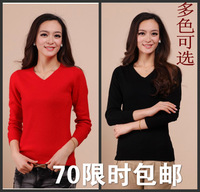 Women's V-neck cashmere sweater design sweater short slim sweater solid color basic shirt women's low collar sweater