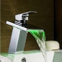 Brass Sink No Battery Need LED Light Color Changing Temperature Sensor Bathroom Faucet Basin Mixer Water Tap torneira banheiro