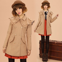 2013 Women's Clothes Fashion Cloak Double Breasted Woolen Outerwear Autumn and winter preppy style woolen overcoat Medium-long