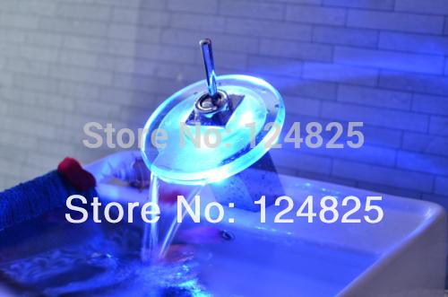 good quality bathroom led faucet light tap mixer temperature sensor 3 color change basin faucets(China (Mainland))