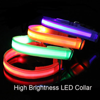 New Classic High Light LED Flashing Dog Collar Dark Walking Safety Glowing Pet Necklace Dropship