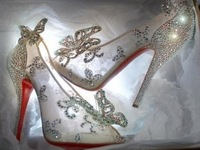 Limited Cinderella Glass Slipper sandals,crystal wedding bridal shoes women's lace high heels peep pumps bowknot Red bottom