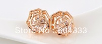 Retail Gold Color High Polish AAA CZ  Zirconia Zircon Earrings Crystal Filigree Rose  Stud Earrings Bridal Jewelry Accessories