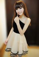 Women's off shoulder sleeveless Cotton Gauze Oblique princess Party Evening Gown Prom evening Mini  bridesmaid dresses