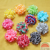 100pcs 3.2'' NEW Chevron Ballerina Flower,11 colors Rainbow Chevron Print Flowers,Scallop Edge Chiffon TWIRL Flower  BF024