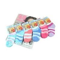 Children stripe towel socks baby thermal floor socks girls/boys winter short socks 5pairs/lot free shipping