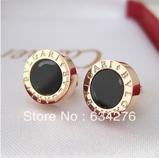 18k rose gold plated titanium steel drop of oil round black men and women couple earrings fashion jewelry wholesale(China (Mainland))