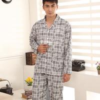 Sleepwear male 100% cotton long-sleeve autumn and winter plaid turn-down collar cardigan twinset casual lounge