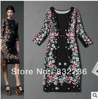 Latest 2014 Runway Fashion High Qulaity Dresses Women's Stunning Floral Printed Elegant Casual Dress Black Dress