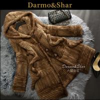 Mink knitted fur coat medium-long marten overcoat trench women's 2013