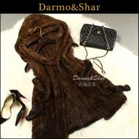 Mink fur vest female medium-long mink knitted vest fur coat 2013