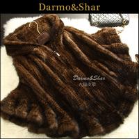 Mink knitted fur coat medium-long female 2013 fur cape mink