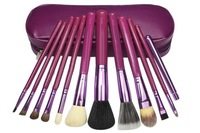 Wholesale Professional 12pcs purple New 100% new 12 pcs/Set Pro Cosmetic Makeup Brushes Set Make up Tool Dres Free shipping