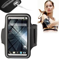 PU Sport Armband Case with Earphone Hole  Key Pocket for HTC One  M7 Black