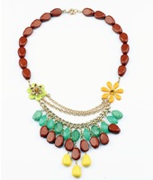 Fashion Bohemia Multicolor Flower Vintage Statement  Necklace For Women Free Shipping Min.order is $15(mix order)