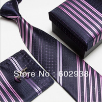 striped neck tie set neckties cufflinks hanky high quality ties cuff links Pocket square snot-rag Handkerchiefs #4