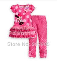 Pink Polka Dots Cute Cartoon Dress Pants Baby Girls 2 Piece Set Summer 2014 Kids Clothes Suit Childrens Clothing Toddler Wear