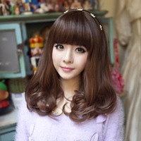 EUROPE Stylish Women Curly Hair Pear wig stubbiness fluffy repair qi bangs scroll girls jiafa  Fashion Ladies Wig For Party