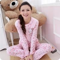 women's 100% spring and autumn Sleepwear Pajamas Sets cotton long sleeve cartoon HELLO KITTY  lady Pajama Sets
