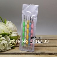 5pcs/pack Nail Art Dotting Marbleizing Paint 2 Ways Dotting Pen, 200pack/lot + Free shipping
