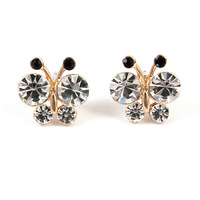 Fashion 18K Gold Full CZ Rhinestone Butterfly Earrings Bee Earring
